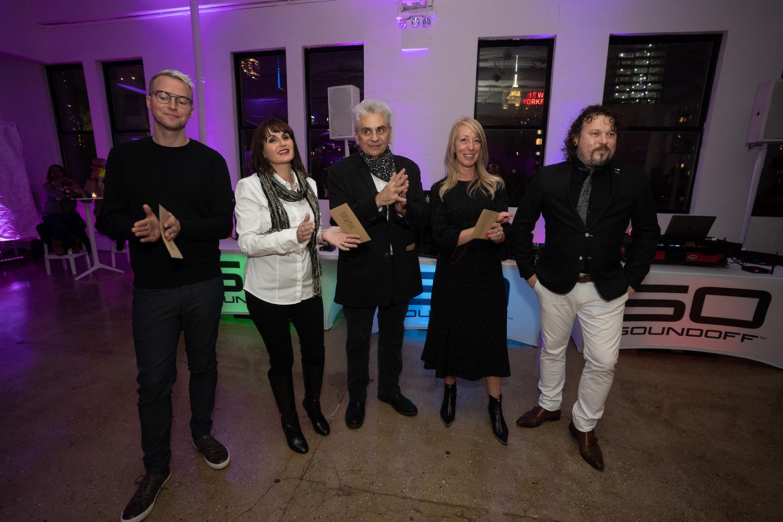 Celebrity judges Pierce Voorhuis, Micki Lorelli, James Spina, Errin Morgan with Award organizer Maarten Weidema from TEF Magazine