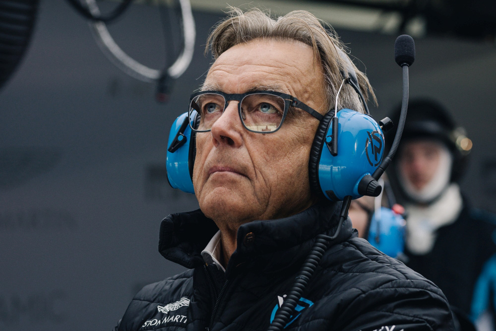 Wolfgang Schattling – Head of Media and Customer Relation, Aston Martin Team R-Motorsport with Kerl Eyewear CARB-008 in color raw coffee